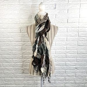 Long Sheer Multicolored Patchwork Scarf